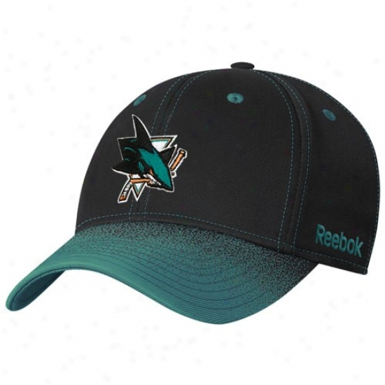 San Jose Shark Hat : Reebok San Jose Shark Black Gradiated Flex Fit Hat