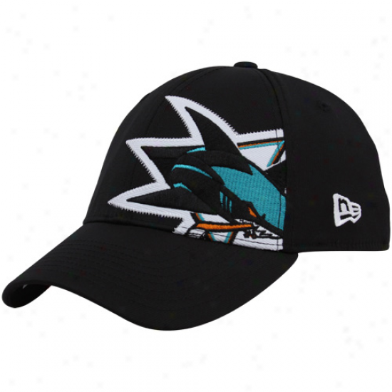 San Jose Fraud Hats : New Era San Jose Shark Black Side Tract 39thirty Stretch Fit Hats