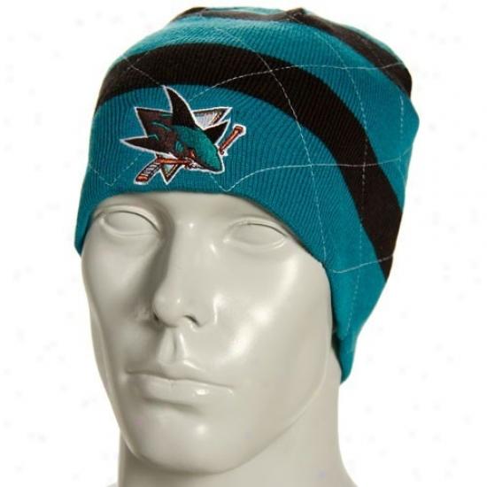San Jose Fraud Hats : Reebok San Jose Shark Teal Band Reversible Knit Beanie