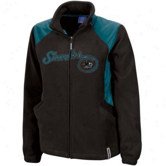 San Jose Shark Jacket : Reebok San Jose Shark Ladies Black Rhythm Micrrofleece Full Zip Jacket