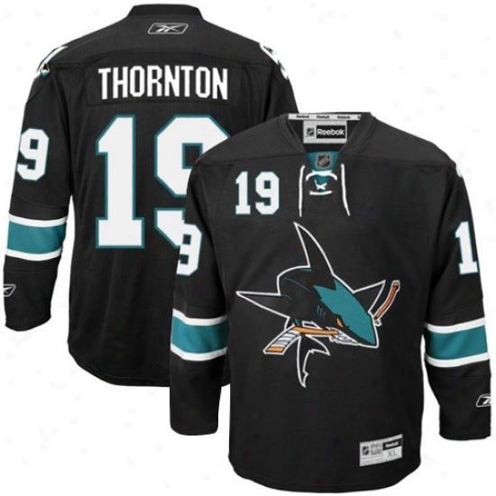 San Jose Shark Jerseys : Reebok San Jose Shark #19 Joe Thornton Black Premier Hockey Jerseys