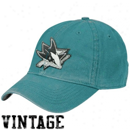San Jose Shark Merchandise: Reebok San Jose Shark Teal Distressed Logo Vintage Slouch Hat