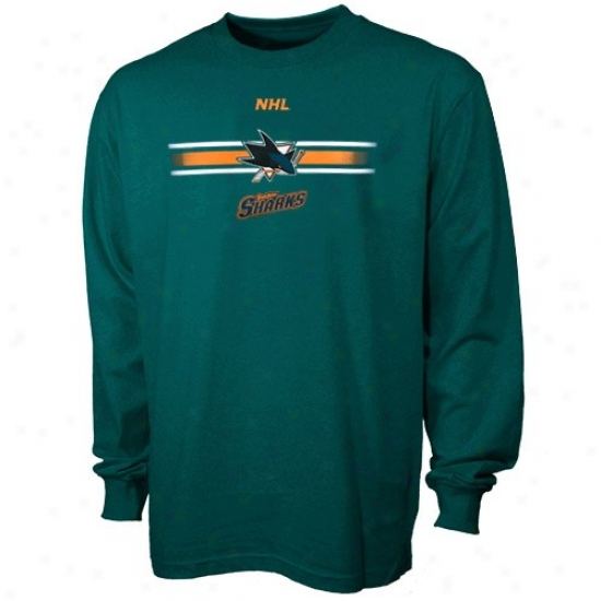 San Jose Shark Shirt : Majestic San Jose Shark Teal Earned Victory Long Sleeve Shirt