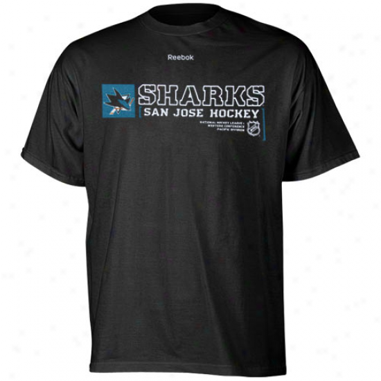 San Jose Shark Shirts : Reebok San Jose Shark Black Call Sign Long Sleeve Shirts
