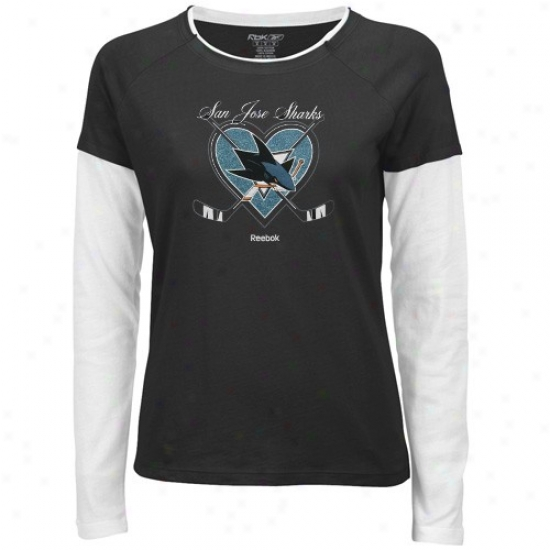San Jose Shark Shirts : Reebok San Jose Shark Ladies Black Cross My Heart Double Layer Long Sleeve Premium Shirts