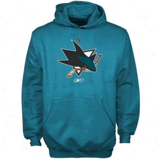 San Jose Shark Sweat Shirt : Reebok San Jose Shark Youth Teal Primary Logo Sweat Shirt