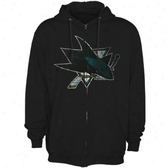 San Jose Shark Sweat Shirts : Majestic San Jose Shark Black Official Logo Full Zip Sweat Shirts