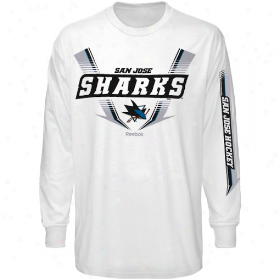 San Jose Shark T Shirt : Reebok San Jose Shark White Supermoto Long Sleeve T Shirt