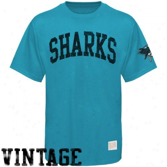 San Jose Shark T Shirt : San Jose Shark Teal Word Vintage Premium T Shirt