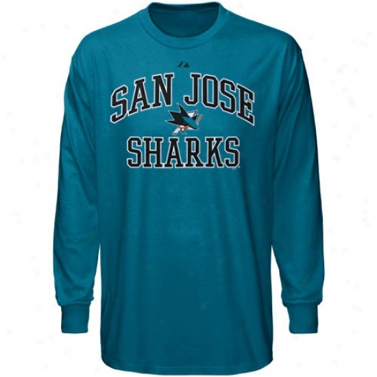 San Jose Fraud Tees : Mjestic San Jose Sjark Teal Conscience & Soul Ii Long Sleeve Tees
