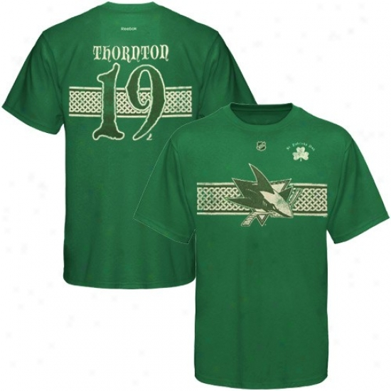 San Jose Shark Tshirts : Reebok San Jose Shark #19 Joe Thornton Kelly Green St. Patrick's Day Player Tshirts