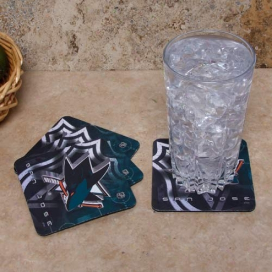San Jose Sharks 4-pack Sublimated Logo Neoprene Coaster Set