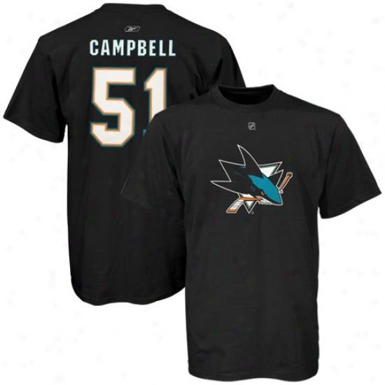 San Jose Sharks Apparel: Reebok San Jose Sharks #54 Brian Campbell Black Net Player T-shirt