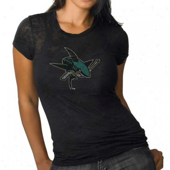 San Jose Sharks Apparel: San Jose Sharks Ladies Black Rhinestone Burnout Premium T-shirt