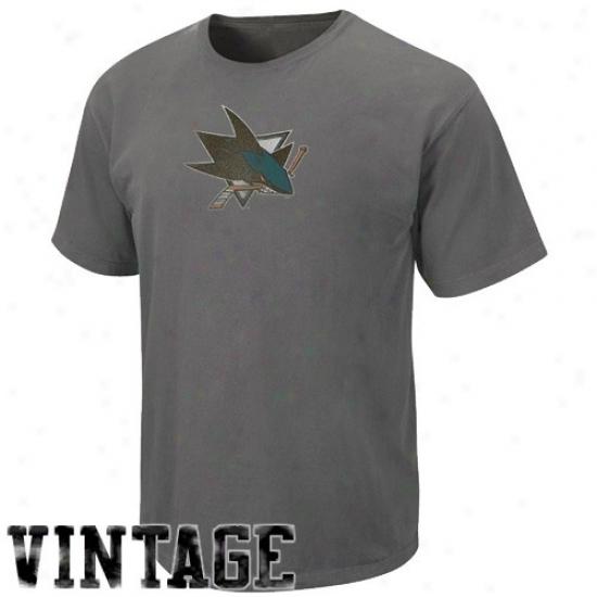 San Jose Sharks Attire: Majestic San Jose Sharks Heather Charcoal Big Time Play Vintage T-shirt