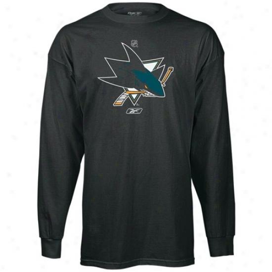 San Jose Sharks Attire: Reebok San Jose Sharks Dark Prime Logo Long Sleeve T-shirt