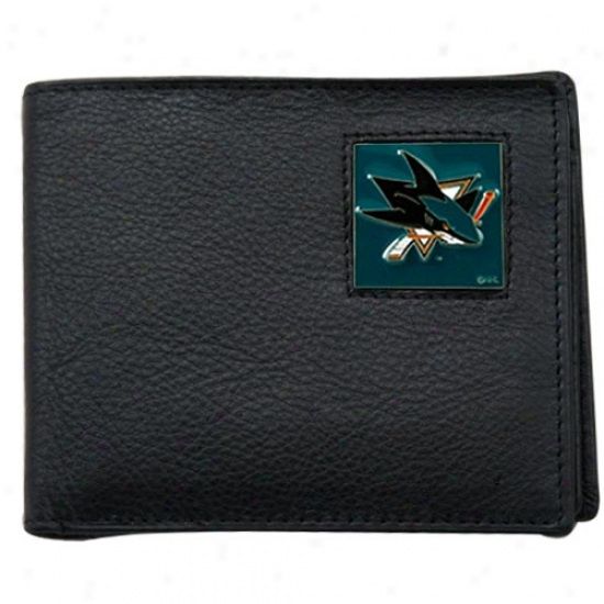 San Jose Sharks Black Bi-fold Leather Executive Wallet