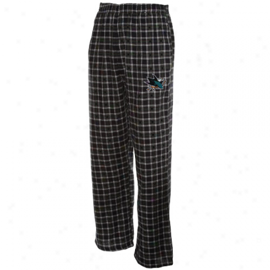 San Jose Sharks Blac Plaid Match-up Flannel Pajama Pants
