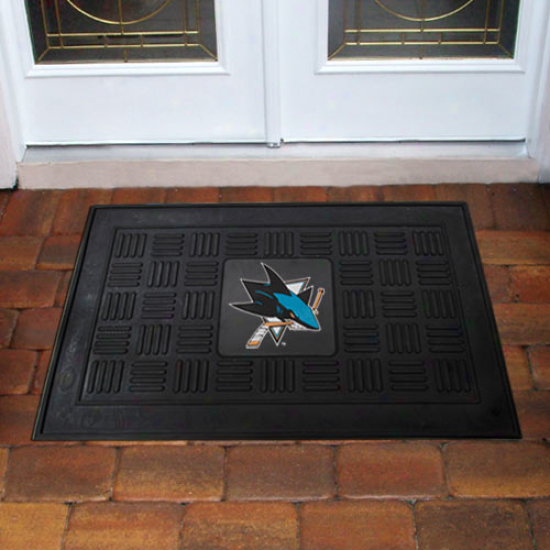 San Jose Sharks Black Team Logo Rubber Mat