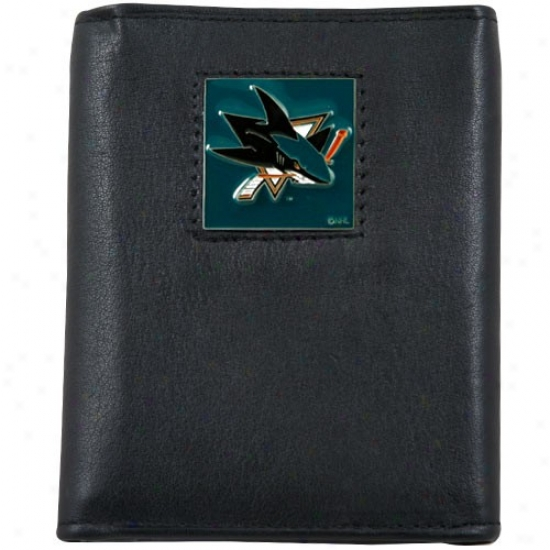 San Jose Sharks Black Tri-fold Leather Administration Walllet