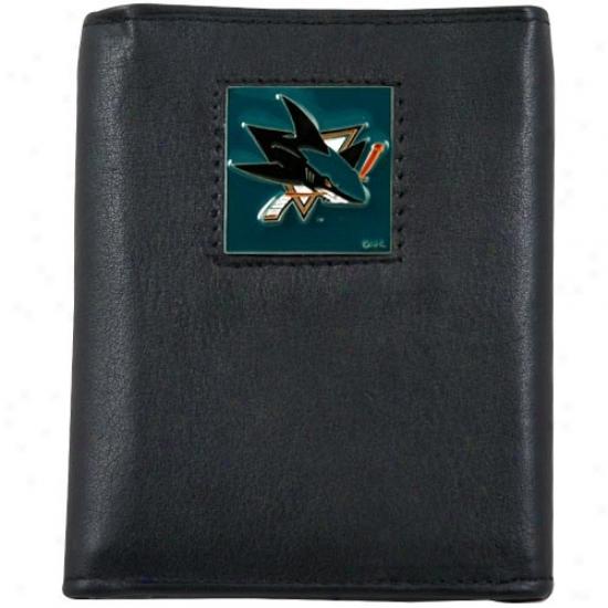 San Jose Sharks Black Tri-fold Leather Administration Walllet