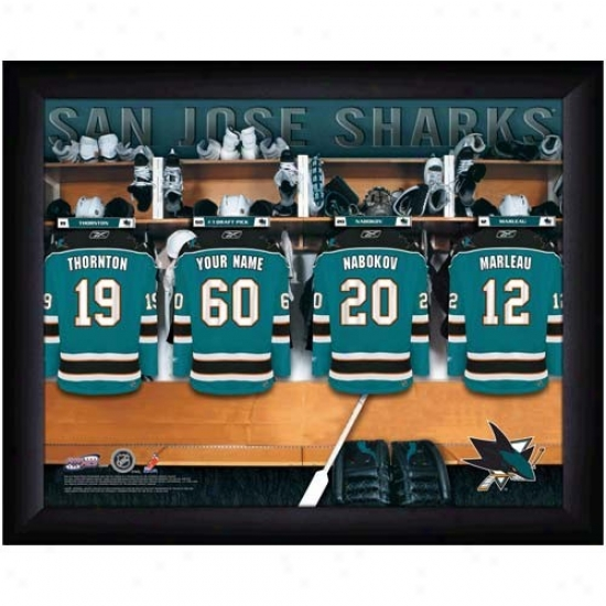 San Jose Sharks Customized Locker Room Negro Framed Photo