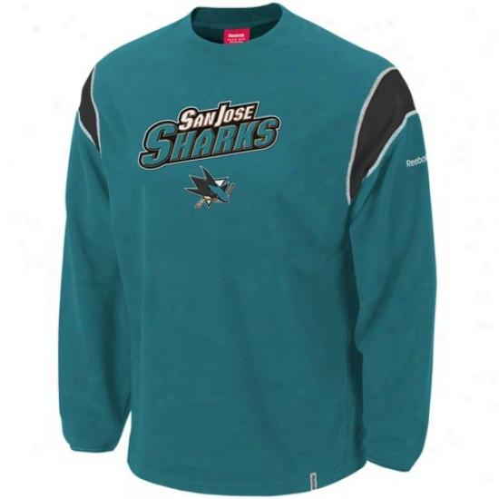 San Jose Sharks Foeece : Reebok San Jose Sharks Teal Protector Crew Fleece