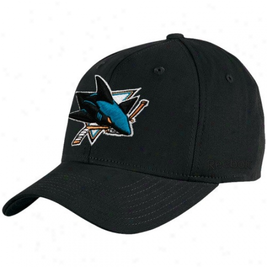 San Jose Sjarks Gear: Reebok San Jose Sharks Black Basic Logo Flex Fit Cardinal's office