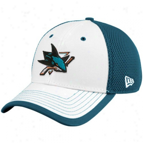 San Jose Sharks Hats : New Era San Jose Sharks White-teal Neo 39thirty Stretch Fit Hats