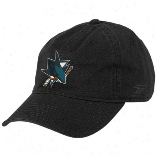 San Jose Sharks Hats : Reebok San Jose Sharks Black Basic Logo Slouch Hats