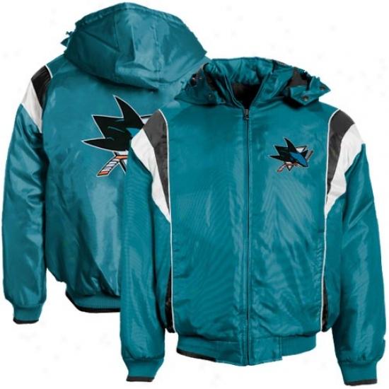 Sann Jose Sharks Jacket : San Jose Sharks Teal Poly Oxxford Full Zip Jacket W/ Detachable Hood