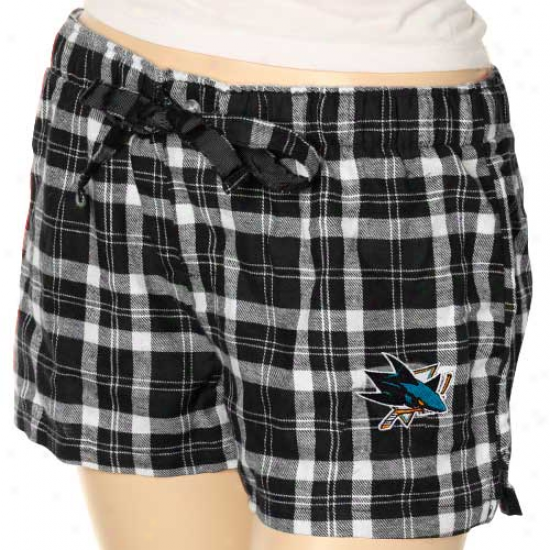 San Jose Sharks Ladies Black Plaid Lounge Shorts