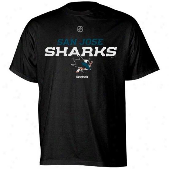 San Jose Sharks Shirt : Reebok San Jose Sharks Black Team Speedy Shirt