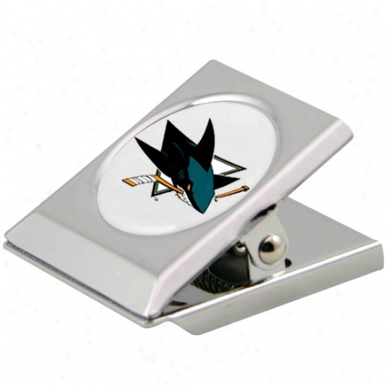 San Jose Sharks Silver Magnetic Heavy Duty Chip Quantity sheared