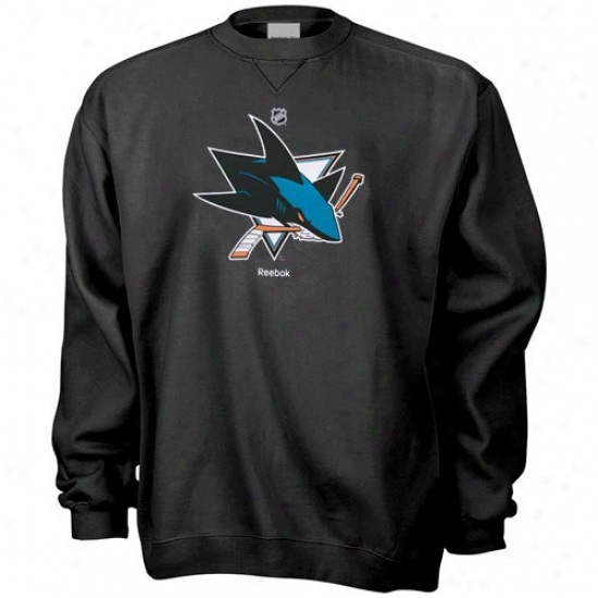 San Jose Sharks Stuff: Reebok San Jose Sharks Black Primary Logo Crew Sweatshirt