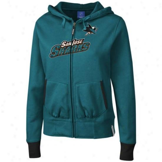 San Jose Sharks Sweat Shirt : Reebok San Jose Sharks Aqua Chant Full Zip Sweat Shirt