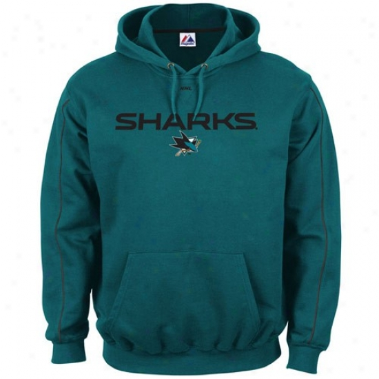 San Jose Sharks Sweatshirts : Majestic San Jose Sharks Teal Classic Sweatshirts