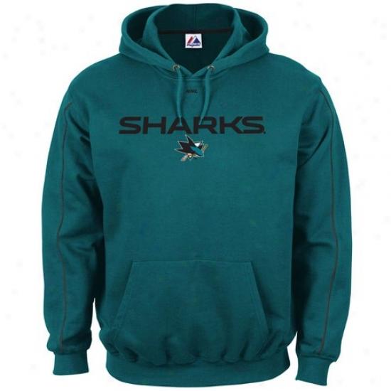 San Jose Sharks Sweatshirts : Majestic San Jose Sharks Teal Classic Sweatshirts