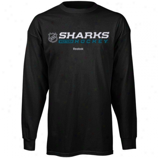 San Jose Sharks T-shirt : Reebok Sa nJose Sharks Black Right Pennon Long Sleeve T-shirt