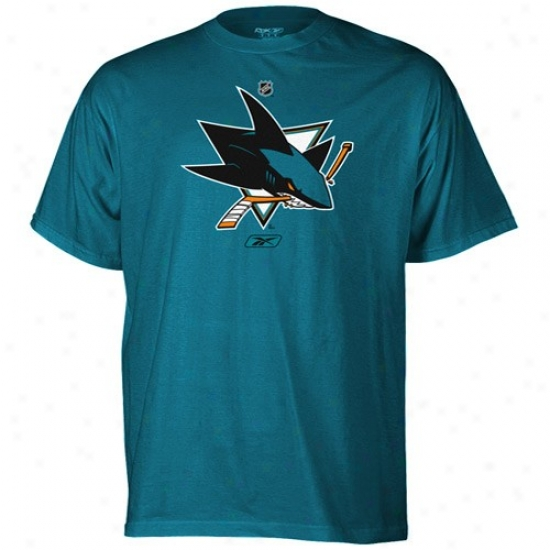 San Jose Sharks T Shirt : Reebok  San Jose Sharks Teal Primary Logo T Shirt