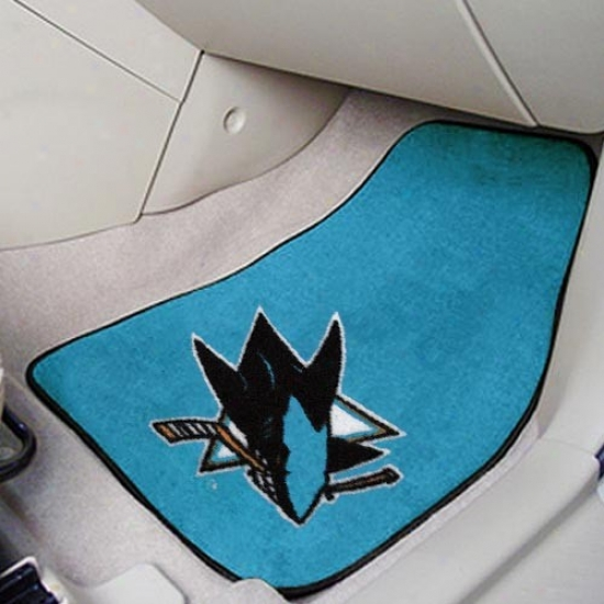 San Jose Sharks Teal 2-piece Carpet Car Mat Set
