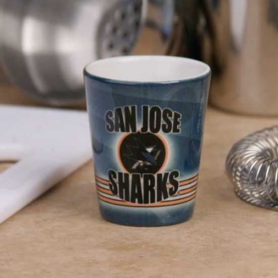 San Jose Sharks Teal Slapshot Ceramic Shot Glass