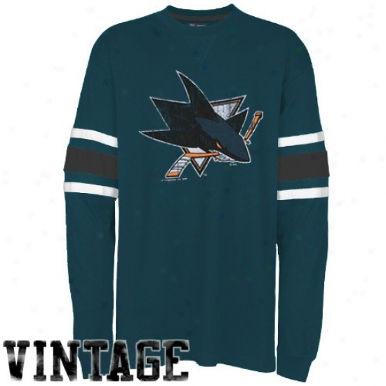 San Jose Sharks Tshirts : Majestic San Jose Sharks Teal End Of The Line Long Sleeve Vintage Tshirts
