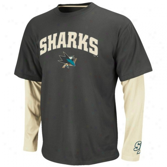 San Jose Sharks Tshirts : Majestic San Jose Sharks Charcoal-white Official Scorer Double Layer Premium Tshirts
