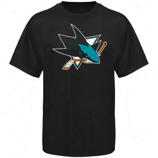 San Jose Sharks Tshirts : Old Time Hockey San Jose Sharks Black Big Logo Tshirts