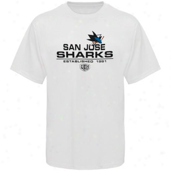 San Jose Sharks Tshirts : Aged Time Hockey San Jose Sharks White Zeno Tshirts