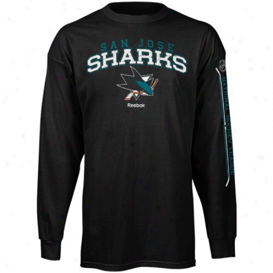 San Jose Sharks Tshirts : Reebok San Jose Sharks Black Double Stick Long Sleeve Tshirts
