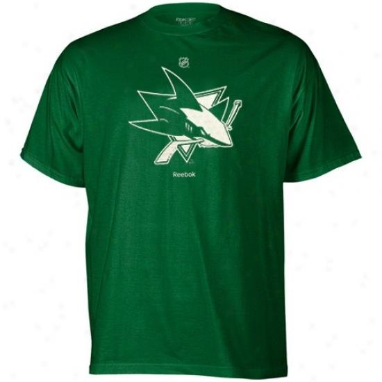 San Jose Sharks Tshirts : Reebok San Jose Sharks Kelly Green St. Patrick's Sunshine Logo Tshirts