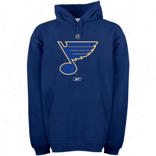 St Louis Blue Hoodies : Reebok St Louis Blues Nav6 Blue Primary Logo Hoodies