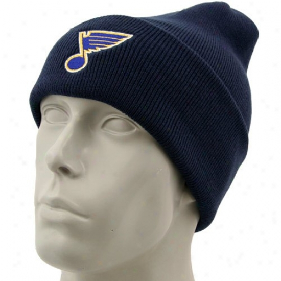 St. Luis Blue Merchandise: Reebok St Louis Blues Navy Blue Watch Knit Beanie